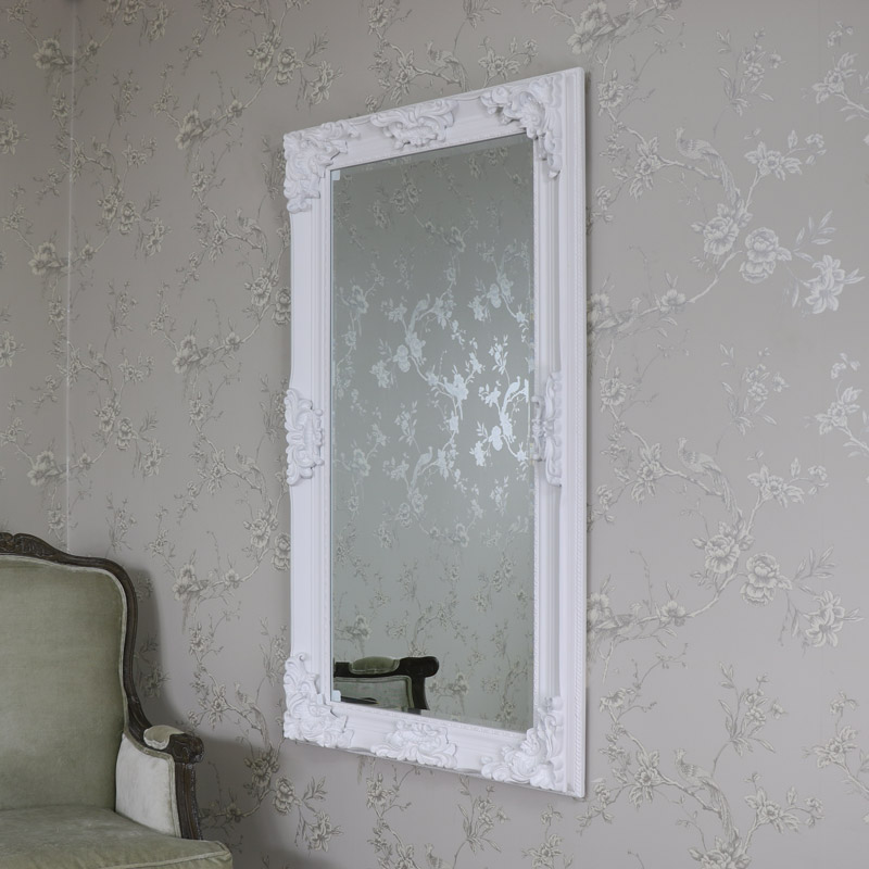 Large Ornate White Wall/Floor Mirror