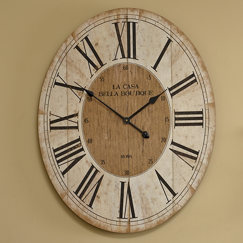 Large Oval Wooden Wall Clock