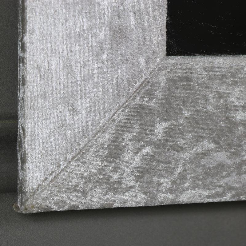 Large pearl white crushed velvet framed wall mirror 50cm x for Large white framed wall mirror