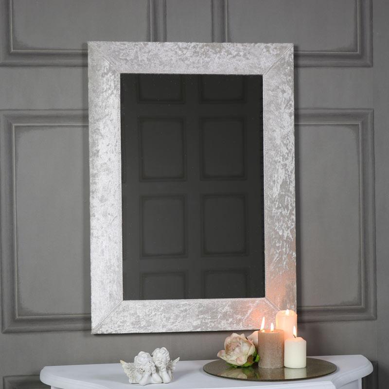Large pearl white crushed velvet framed wall mirror 50cm x for Miroir 50 x 70