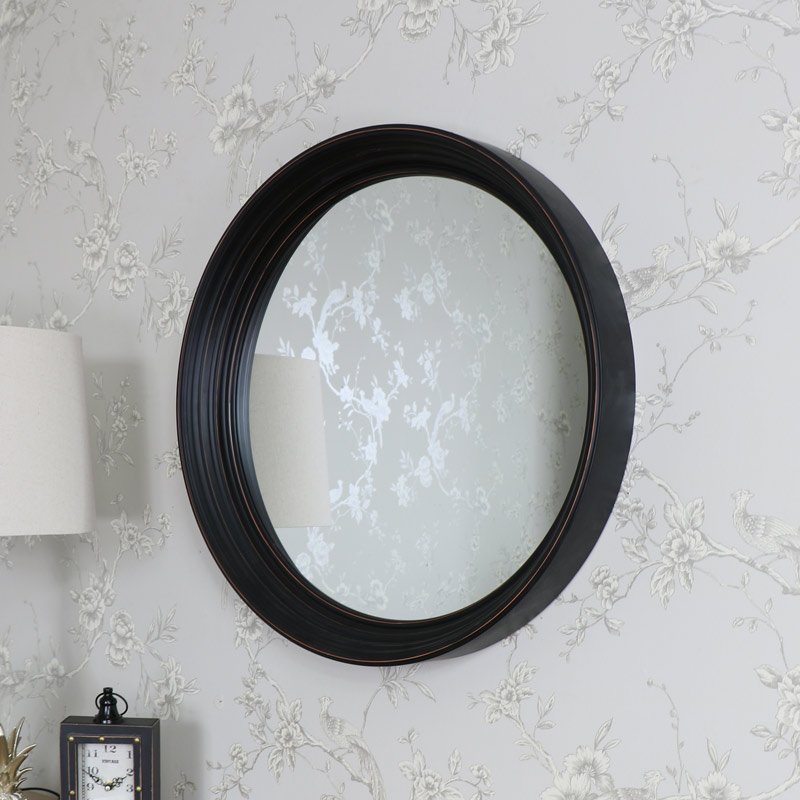 Large black round wall mounted mirror shabby vintage chic for Black wall mirror
