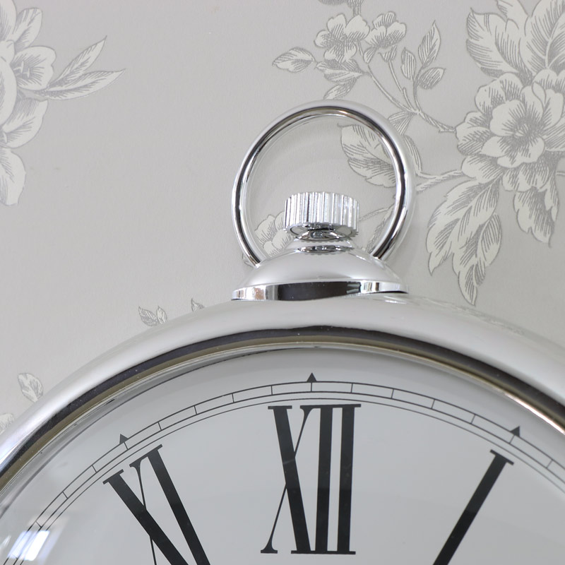 Large Round Silver Wall Clock Melody Maison 174
