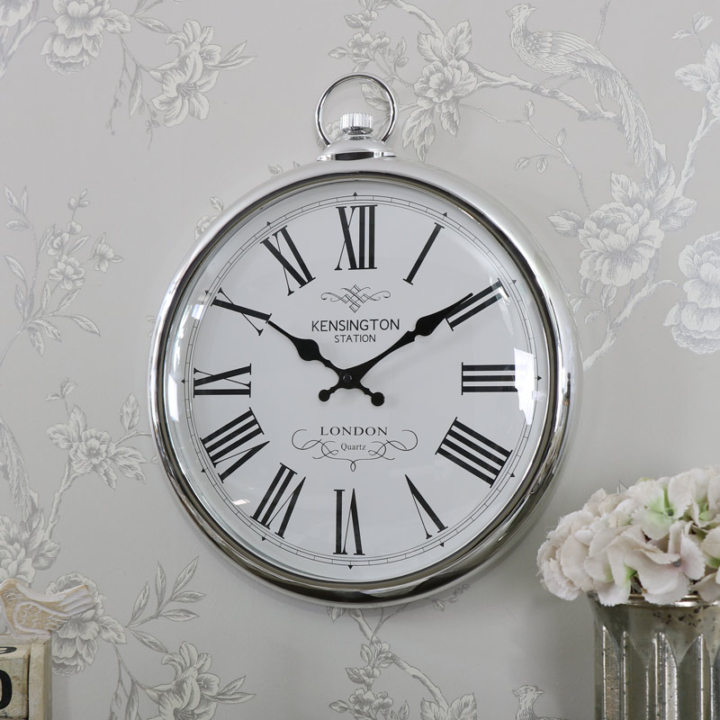 Large Round Silver Wall Clock