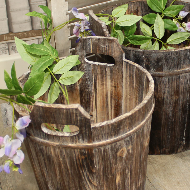Large Rustic Wooden Bucket