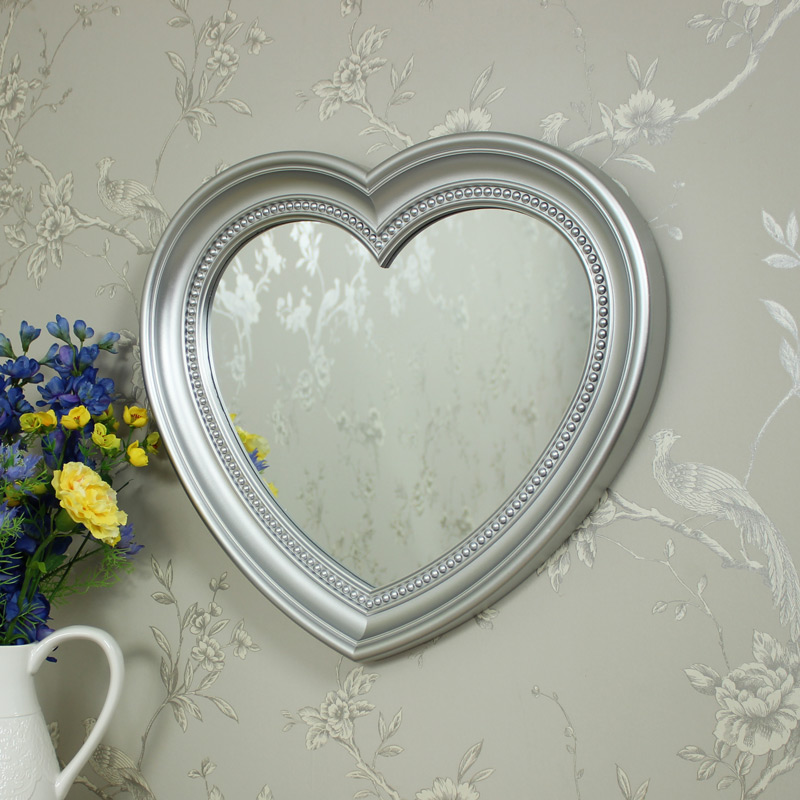Large silver heart wall mirror melody maison for Large silver wall mirror