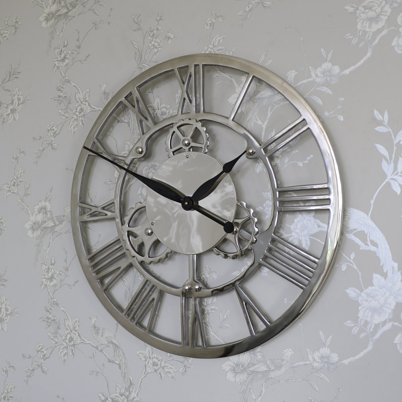 Large silver nickel cog skeleton wall clock melody maison - Large brushed nickel wall clock ...