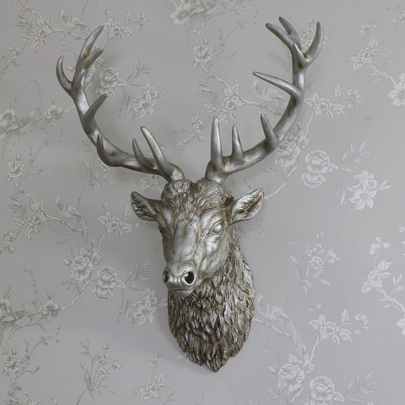 Large silver wall mountable stag head melody maison - Silver stag head wall mount ...