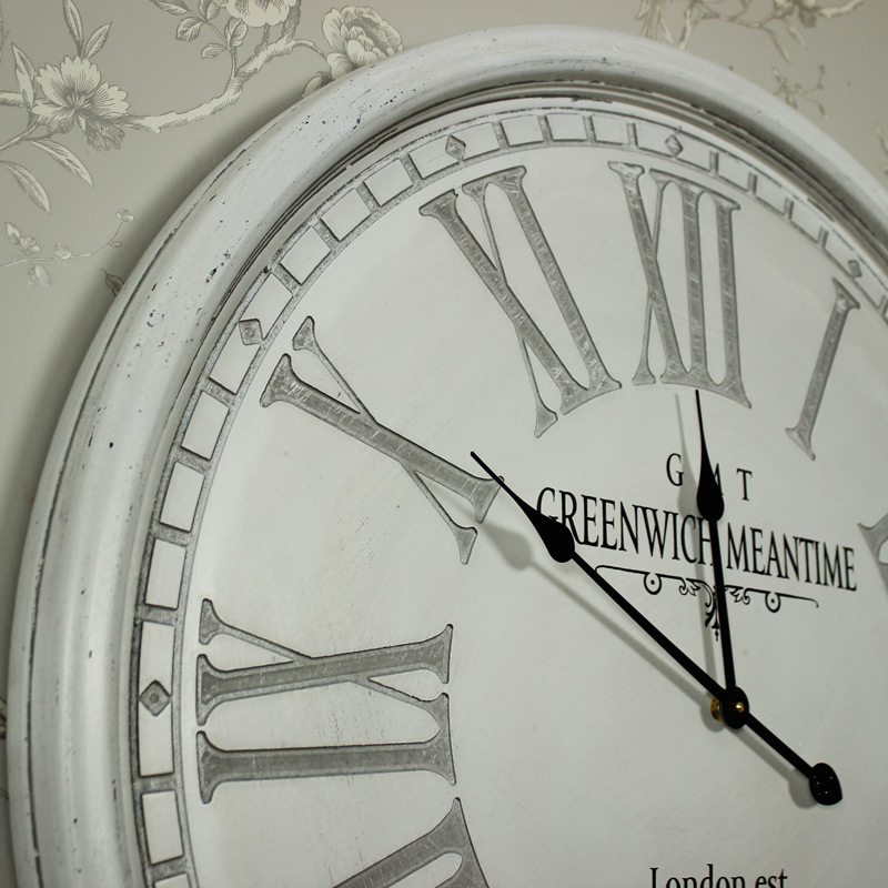 Large Vintage style Grey Wall Clock