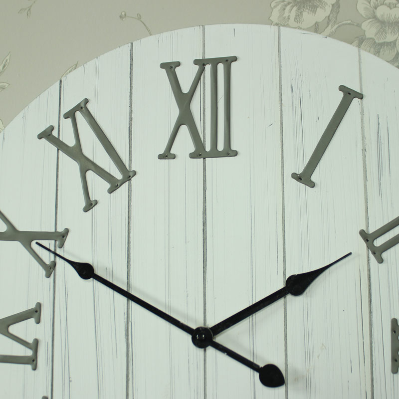 large antique white wooden wall mounted clock numerals home gift ebay
