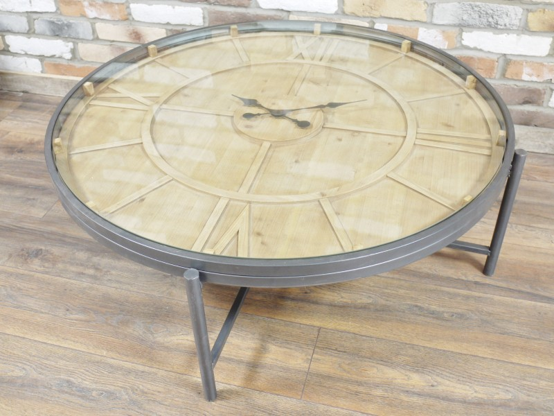 Large Wooden Clock Coffee Table