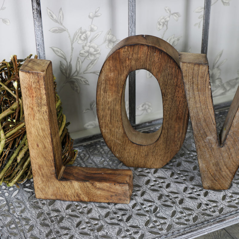 Large wooden freestanding 39love39 letters melody maisonr for Large freestanding wooden letters