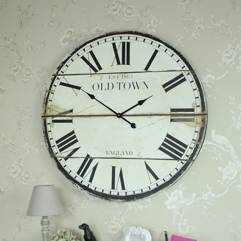 Large wooden vintage style wall clock with roman numerals melody maison - Large roman numeral wall clocks ...