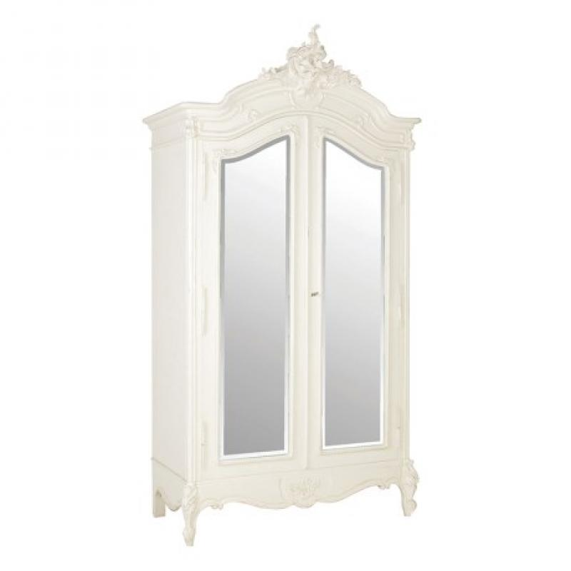louis xv ivory ornate mirrored french double wardrobe. Black Bedroom Furniture Sets. Home Design Ideas