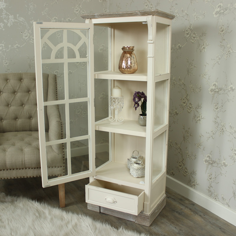 Lyon Range - Cream Glazed Display Cabinet with Drawer
