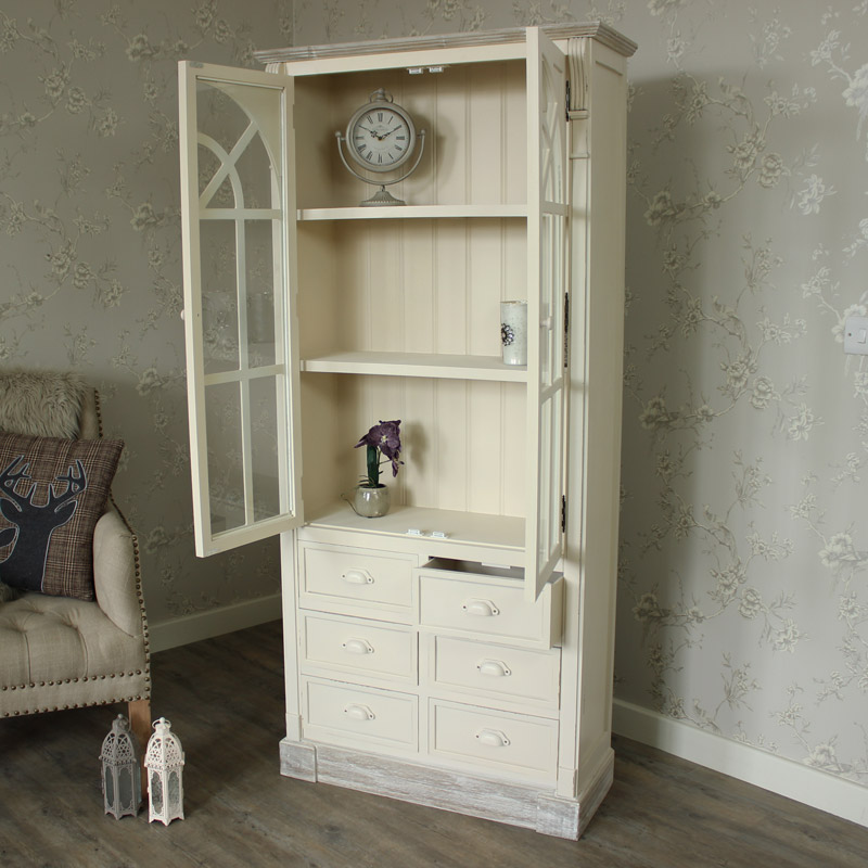 Lyon Range - Tall Glazed Unit With Drawers