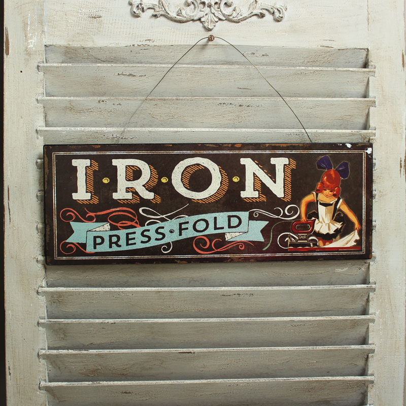 Metal Vintage 'Iron' Plaque