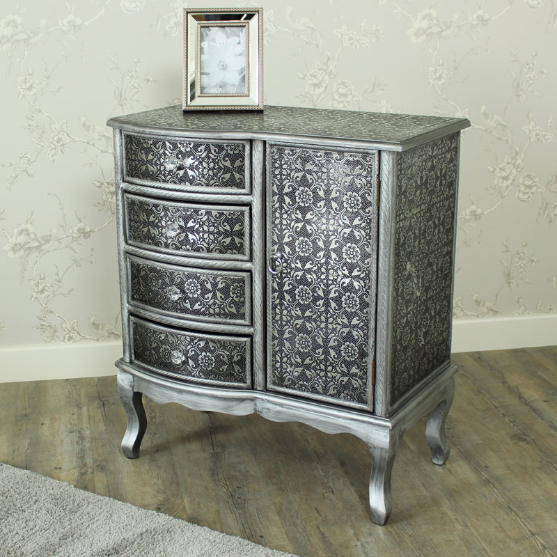 Monique range silver 4 drawer 1 door cabinet melody for Black and silver cabinet