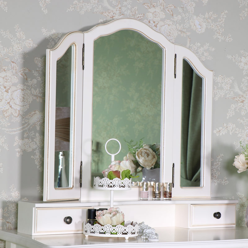 Ornate Antique Cream Dressing Table Mirror And Stool Set