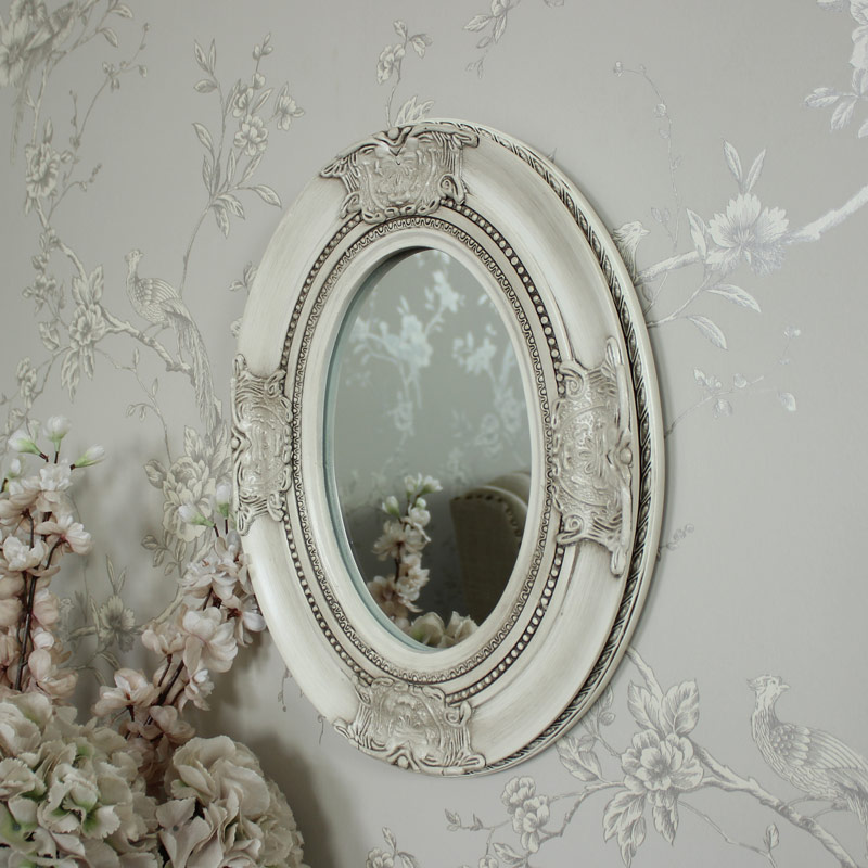Ornate Cream Oval Wall Mirror