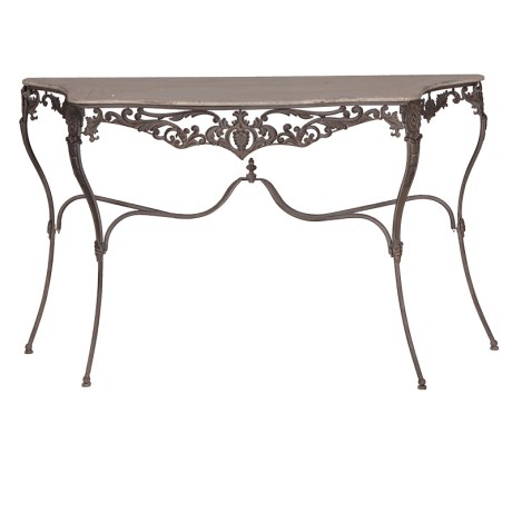 Ornate metal console table, ornate console table, console table, metal furniture, ornate meatl furniture, display table, shabbyu chic, bedroom furniture, hallway, living room, garden, conservatory