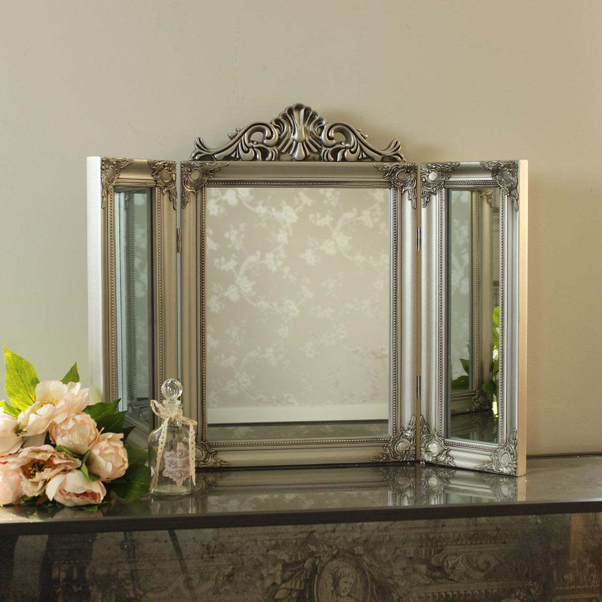 Ornate silver dressing table triple mirror melody maison