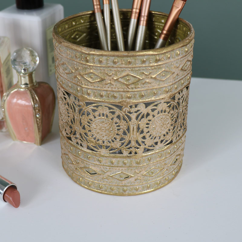 Ornate Vintage Gold Metal Makeup Brush/Candle Holder