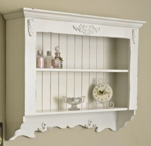 Ornate White Wall Shelf Unit