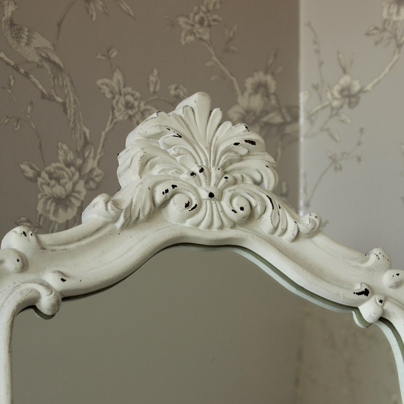 Ornate White Wooden Cheval Mirror