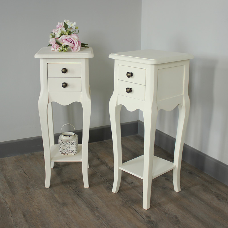 Pair Of Belgravia Range - Furniture Bundle Slim Cream 2 Drawer Bedside Tables
