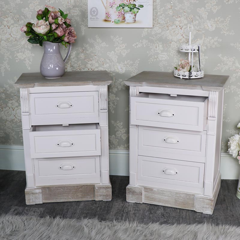 Lyon Range - Furniture Bundle, Pair of Cream Three Drawer Bedside Table