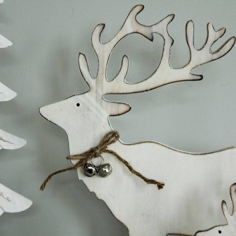 Pair Of White Wooden Reindeer with Bells