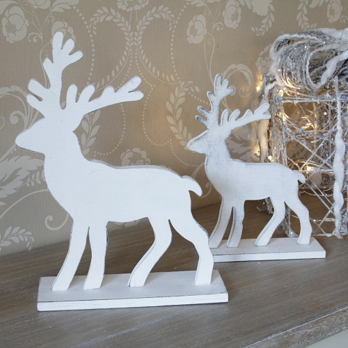 Pair Of White Wooden Reindeer Melody Maison