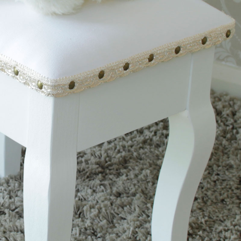 Pays Blanc Range - Antique White Padded Dressing Table Stool