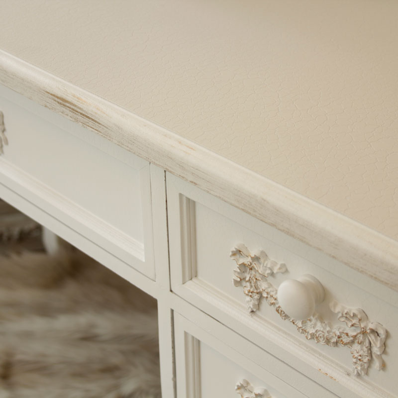 ' Pays Blanc ' Large 5 drawer antique white dressing table / writing desk distressed computer