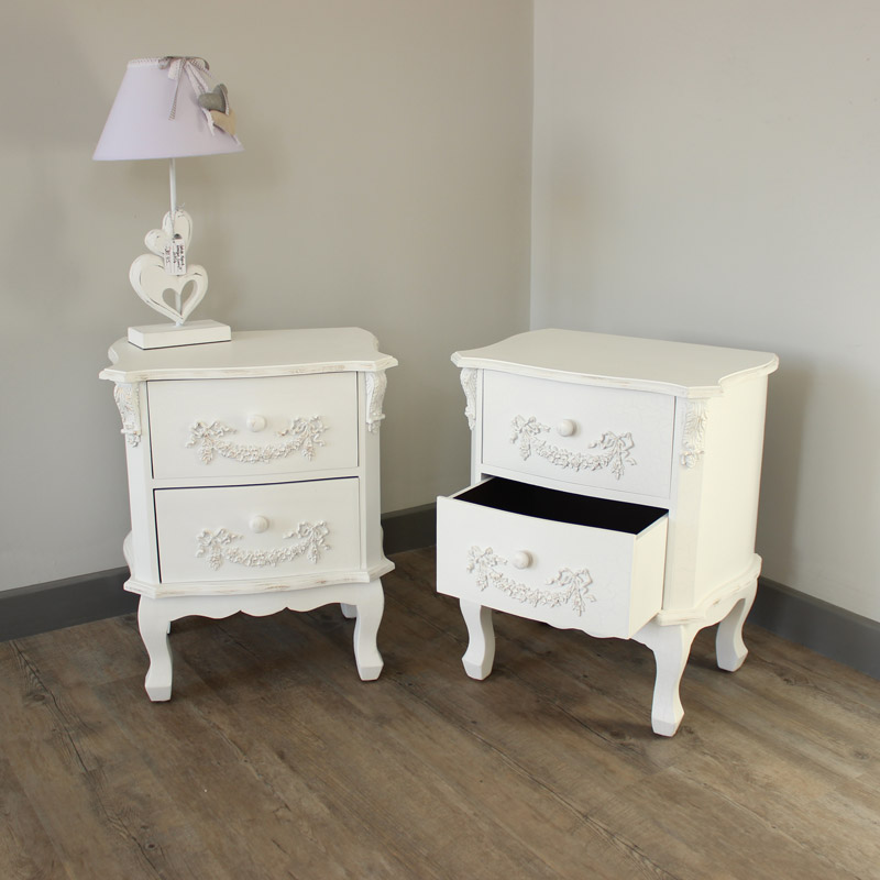 White Ornate French Style SET OF 2 Home Bedroom Furniture