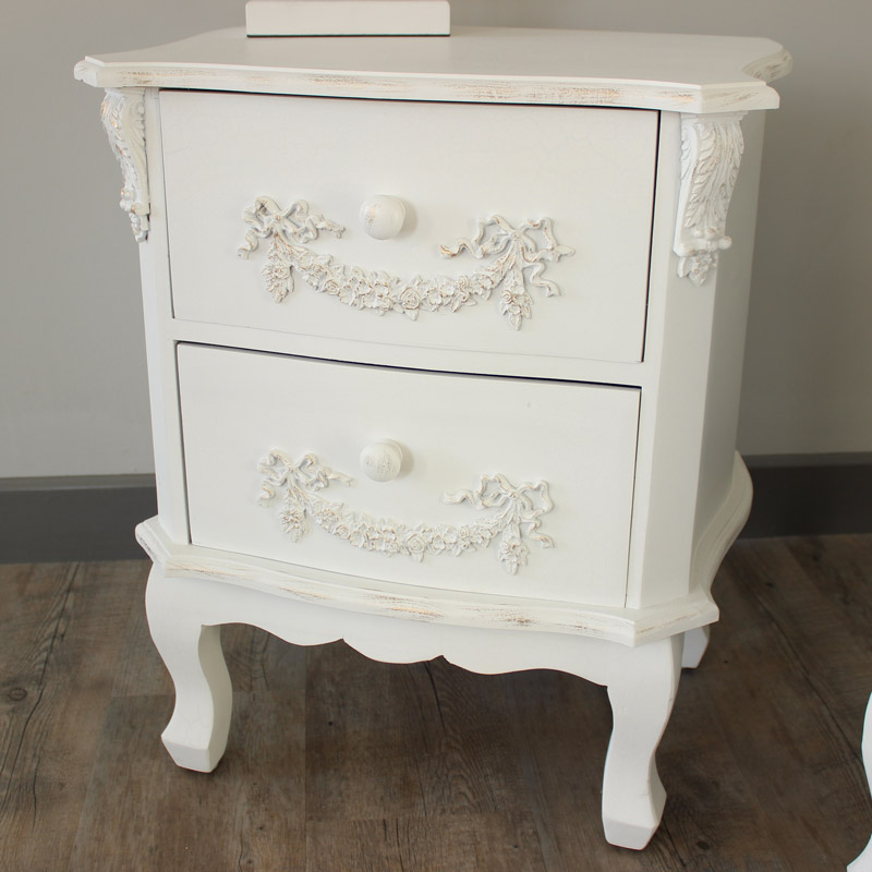 Pays Blanc Range - Furniture Bundle, Pair of Antique White 2 Drawer Bedside Tables