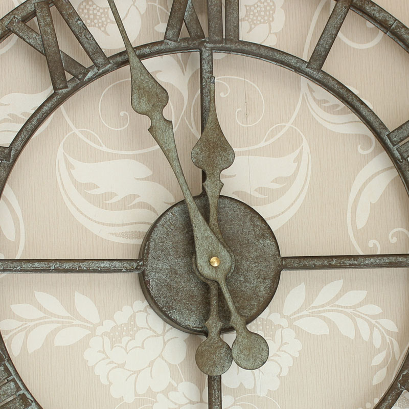 Petite Zinc Skeleton Wall Clock