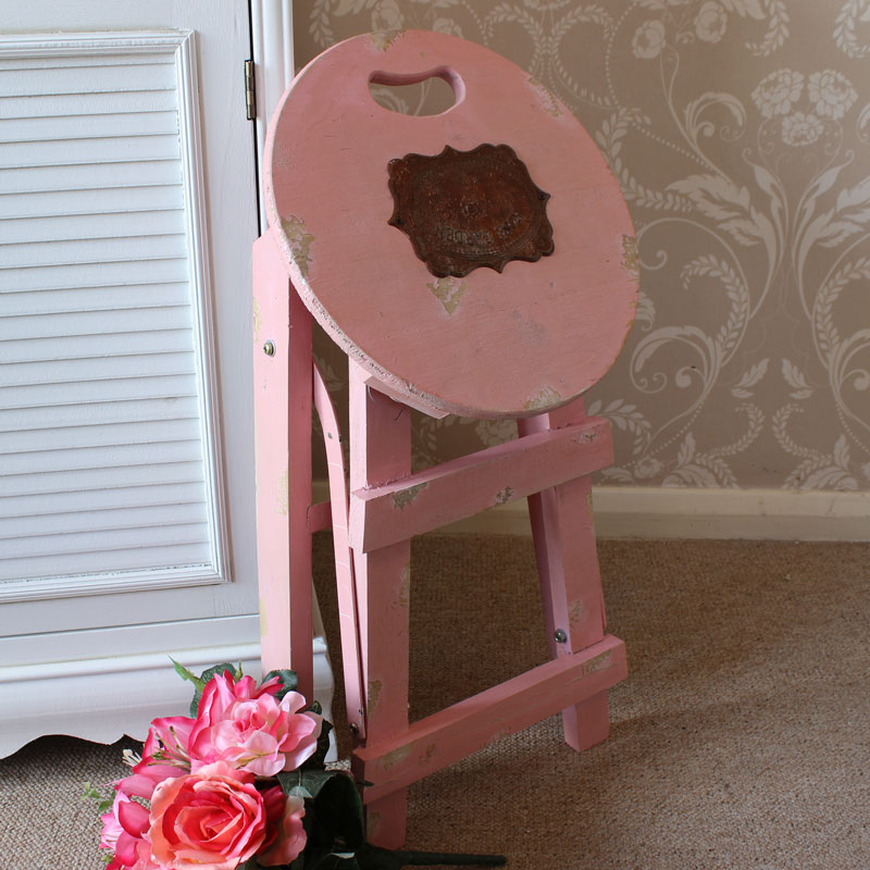 Pink Wooden Stool Melody Maison 174