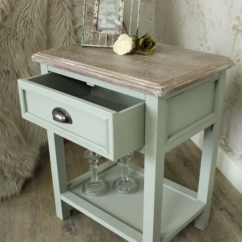 Grey Range One Drawer Bedside Lamp Table Distressed Brass
