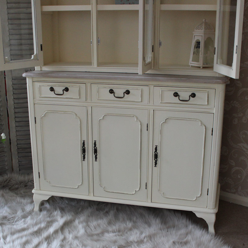 Provence Cream Large Glazed Display Cabinet With 3 drawers/3 doors