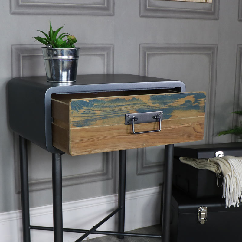 Retro Industrial 1 Drawer Bedside Lamp Table Chicago Range Melody Maison 174