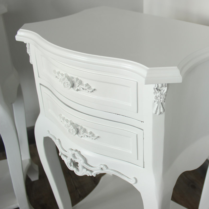 White Wooden Bedroom Set Dressing Table Mirror Stool