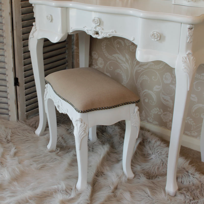 Rose Range - Ivory Dressing Table and Mirror & stool