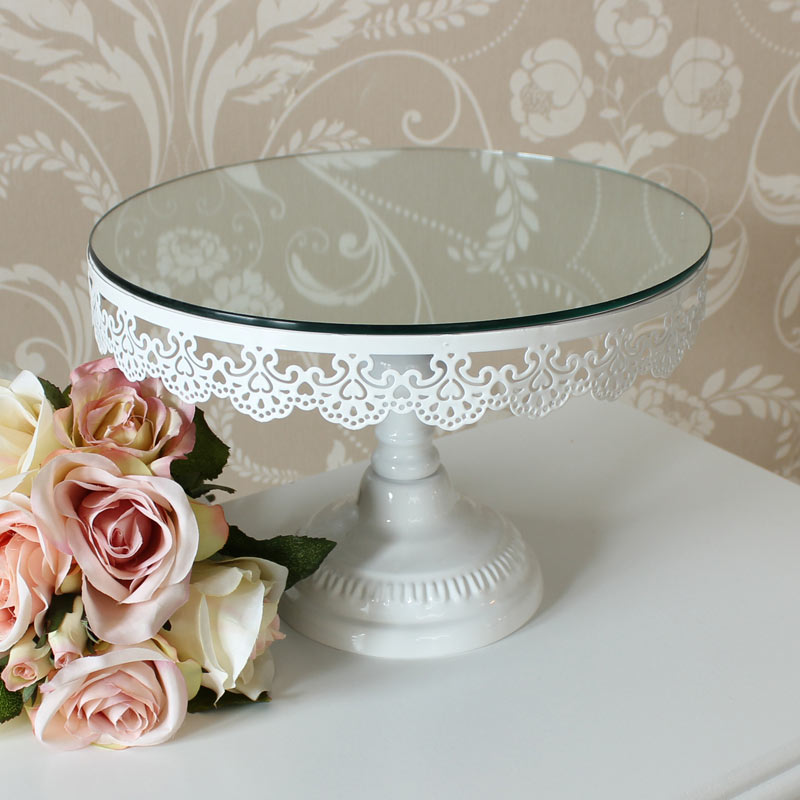Round Ivory Mirrored Cake Stand Melody Maison 174