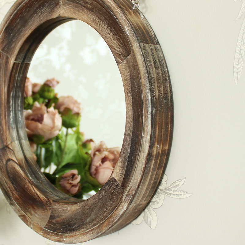 Round Wooden Wall Mirror
