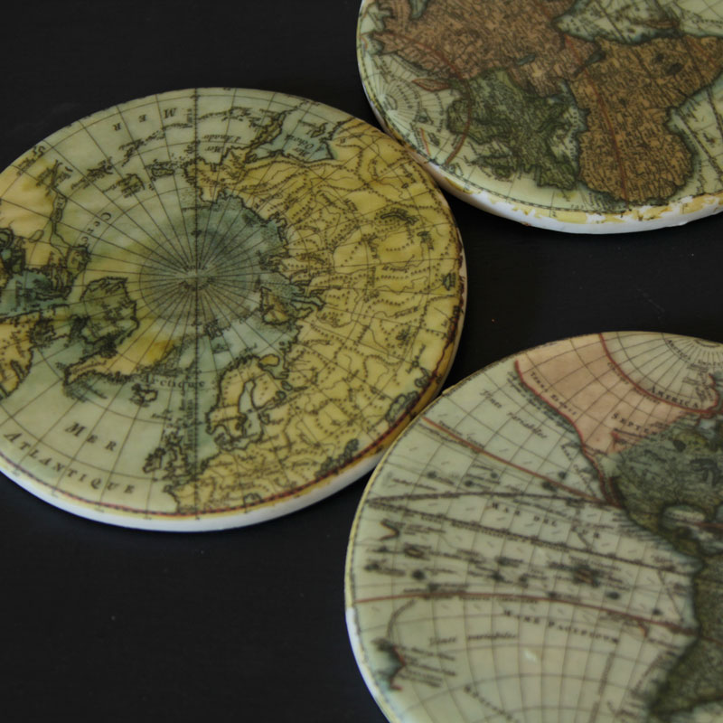 Round World Map Coasters