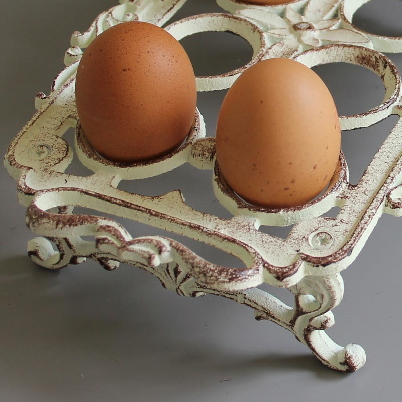 Rustic Cream Iron Egg Holder