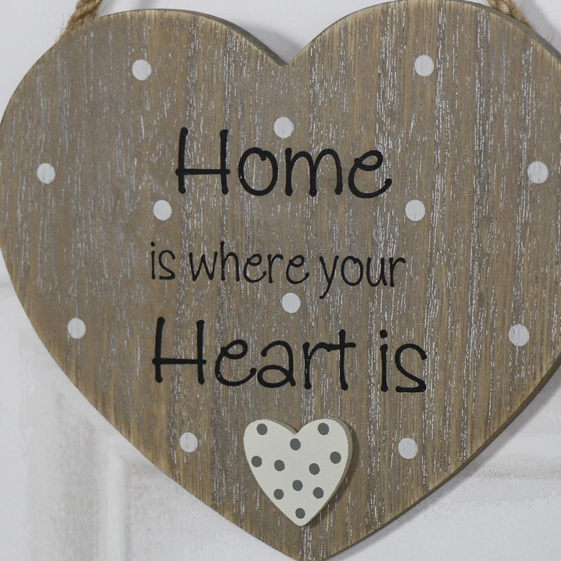 rustic hanging heart plaque home is where your heart is melody maison. Black Bedroom Furniture Sets. Home Design Ideas