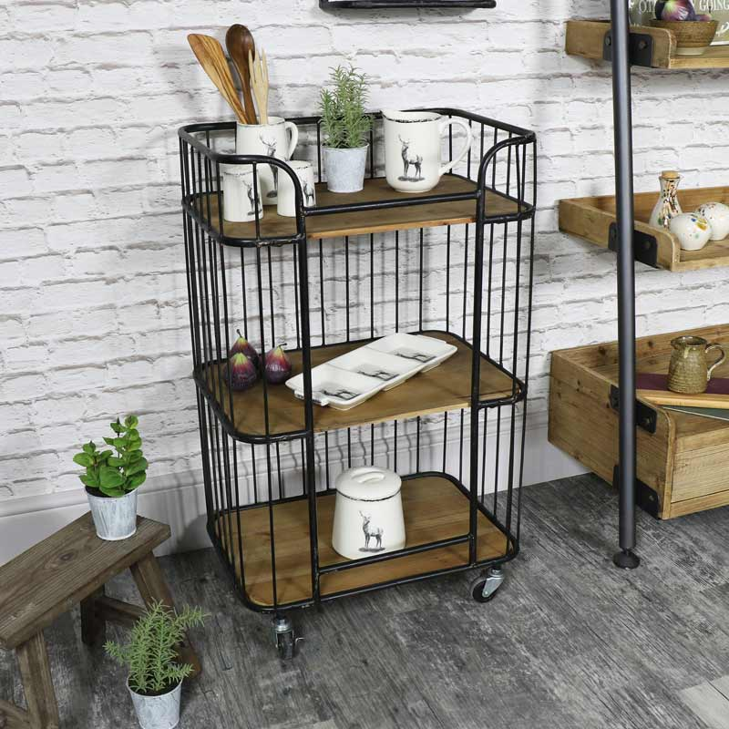 Rustic industrial style trolley with shelves melody maison for Industrial style kitchen uk