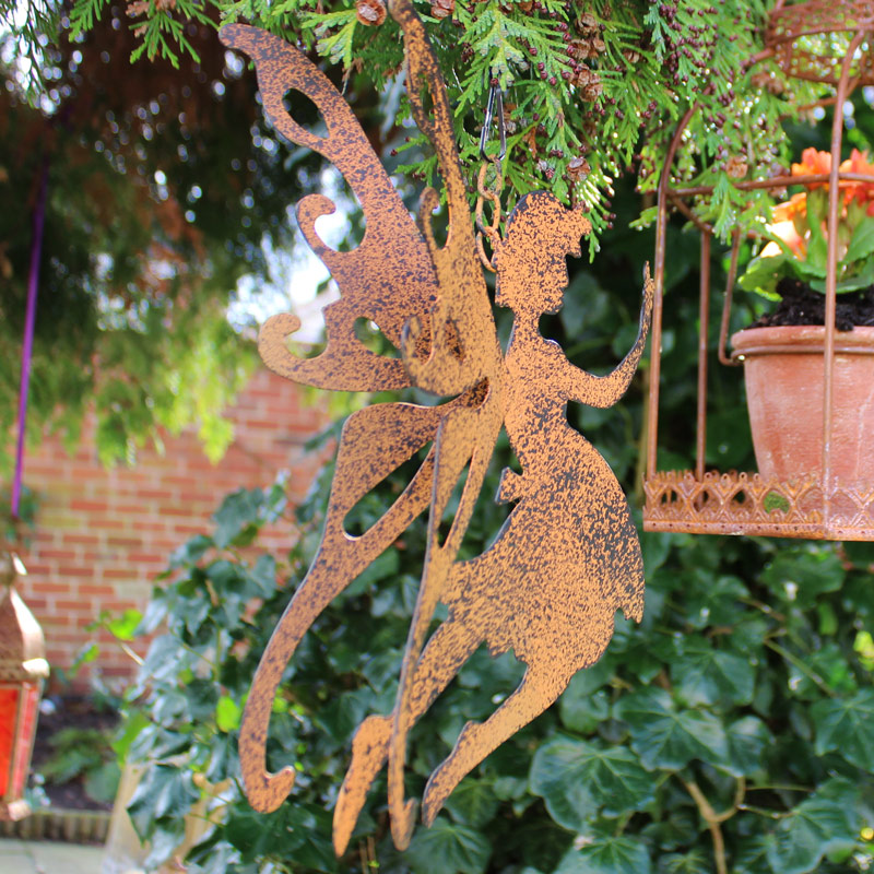 Rustic metal fairy hanging garden decoration melody maison for Decoration jardin metal